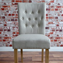 Upholstered Dining Chairs With Oak Legs Cushions For Rocking Chair Chesterfield Stone Upholstery Button-back