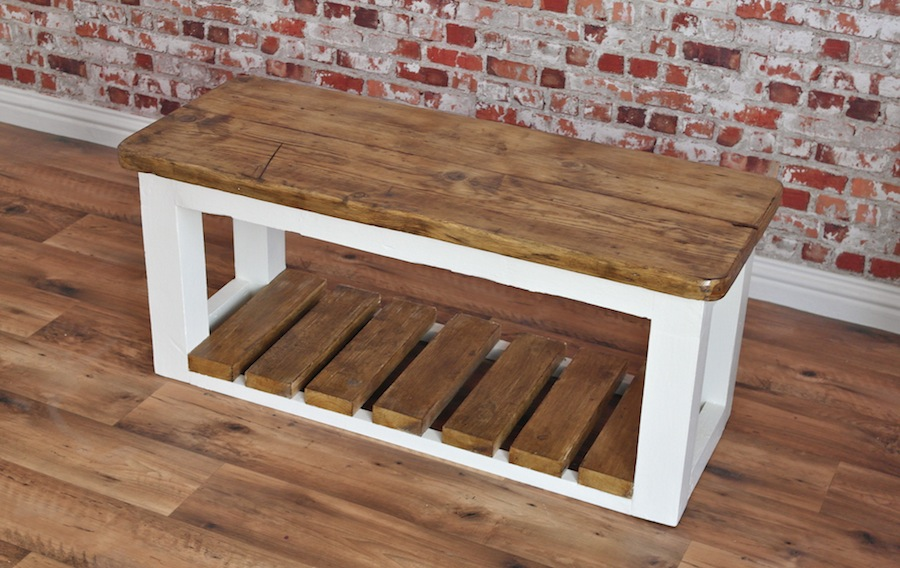 Rustic Shoe Storage Hall Bench Made From Reclaimed Wood