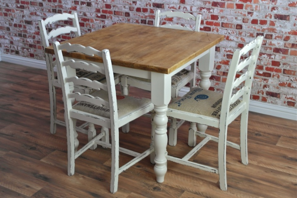 Square Two Four Seater Rustic Reclaimed Dining Set With