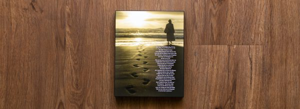 Footprints Poem Wood Wall Plaque