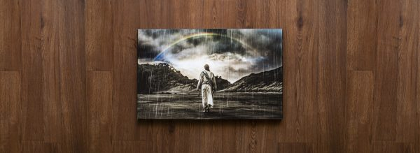 Jesus walking through the Storm with Rainbow