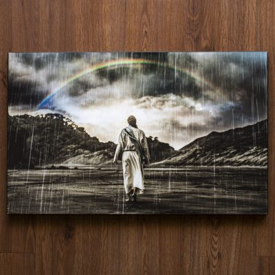 Jesus walking through the Storm with Rainbow