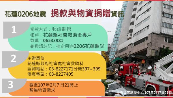 花蓮0206地震 捐款 與 物資捐贈資