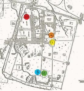 臺北城古圖。紅色點仍為臺北城隍廟;而綠色點為現今北一女、藍色點為現今司法院、黃色點在現今二二八紀念公園內、橘色點為現今台博館所在(亦在二二八公園內)。