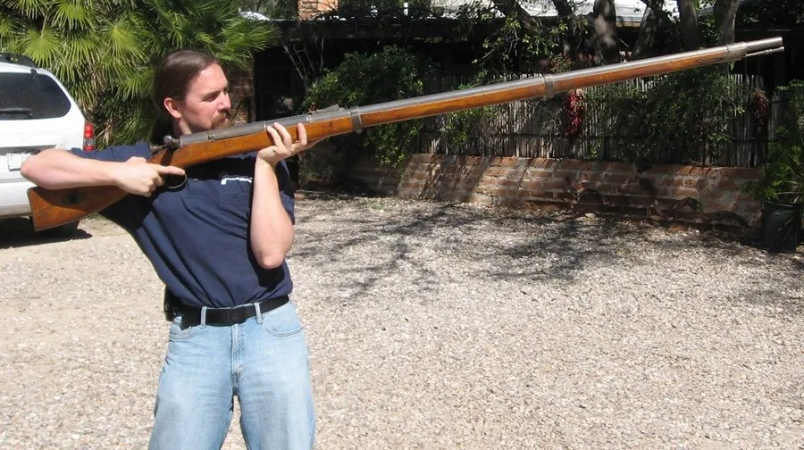 "Ian with a .60 caliber Chinese ""Jingal"" wall gun"