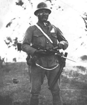 Japanese soldier with SIG Type BE (Bergmann)