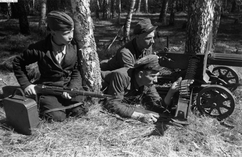 Russians Partisans with a Maxim gun