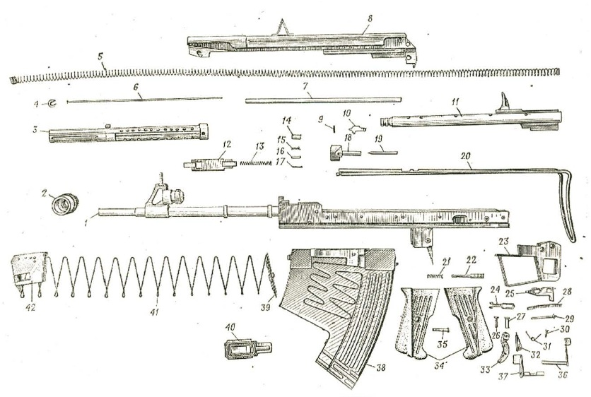 Russian APS underwater rifle - exploded view
