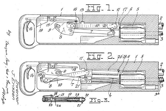 Eriksen machine gun operating mechanism
