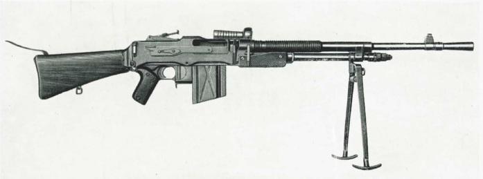 FN model D light machine gun with bipod