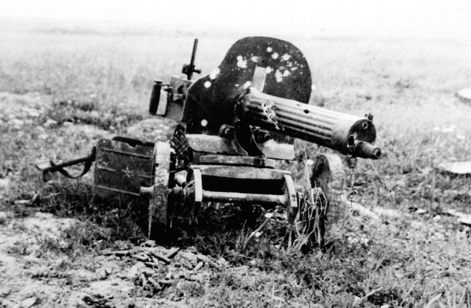 Battle-damaged 1910 Russian Maxim