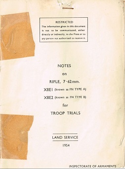 Notes on Rifle, 7.62mm, X8E1 and X8E2 for Troop Trials (English, 1954)