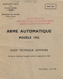 Arme Automatique Modele 52 Guide Technique Sommaire (French, 1956)