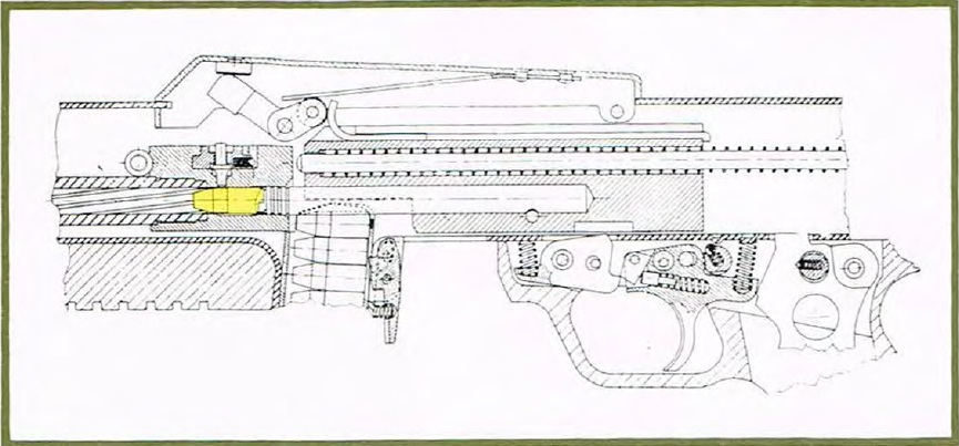 Benelli CB-M2 mechanism cutaway view