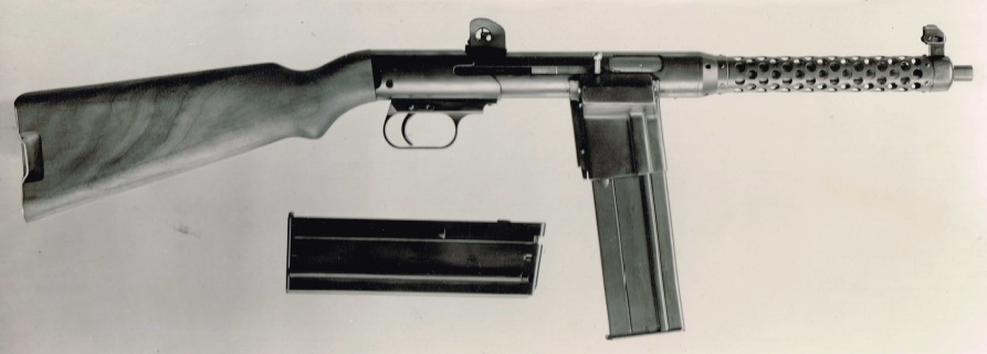 Vesely V42 submachine gun - note the wide magazine