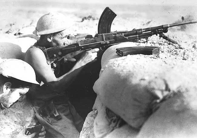 Australian Bren gunner under fire at Tobruk