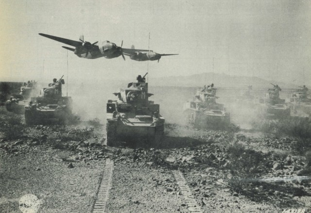 Close air support over Stuart light tanks