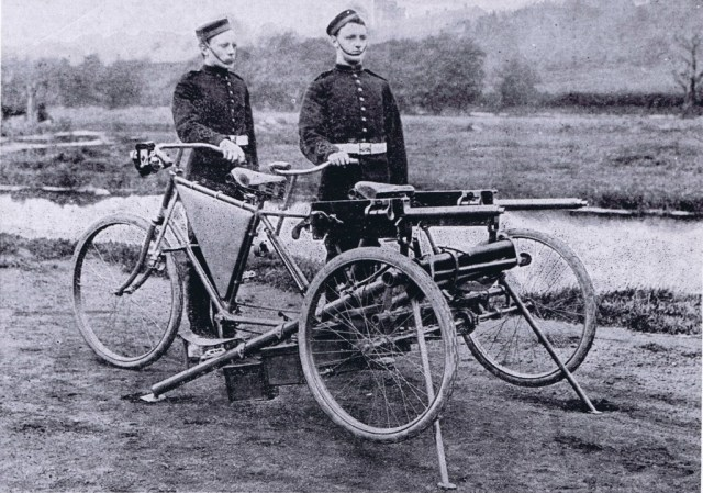 Maxim tricycle set up for firing