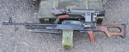 PKMN machine gun with night vision scope
