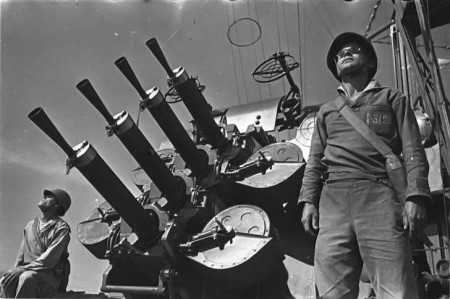 Quad-mount .50 caliber Vickers anti-aircraft mount