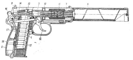 Diagram of the entire PB pistol, from 1982-dated Soviet army manual