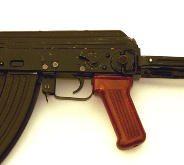 Selector lever on the left side of the receiver of the AKMS wz.80.