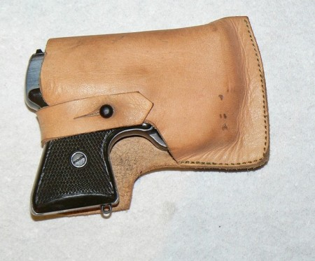 MSP pistols were issued with leather pocket-type holsters