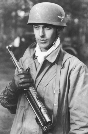 German paratrooper on Crete with an MP38