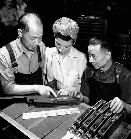 Chinese Bren markings being scribed at the Inglis factory