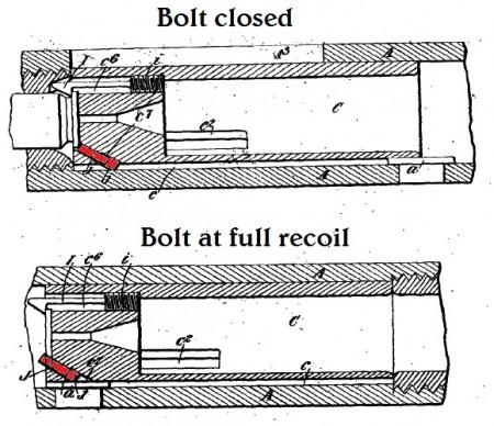 Maxim-Silverman 1896 pistol ejector mechanism