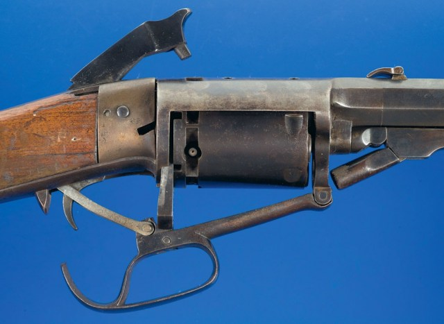 North & Skinner revolving rifle with action open