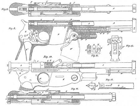 Otto Brauwetter 1892 patent for Bergmann pistol