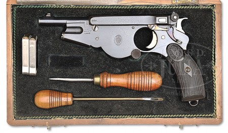 Bergmann No.2 pistol with factory case and accessories.