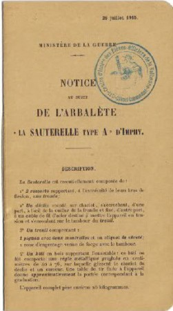 L'Arbalete la Sauterelle Type A DImphy Manual (French, 1915)