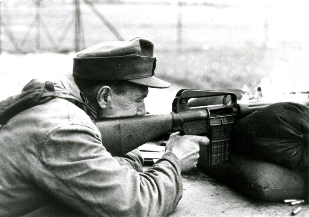 West German soldier test firing an Armalite AR-10 (designated G4) during trial at Meppen in 1957