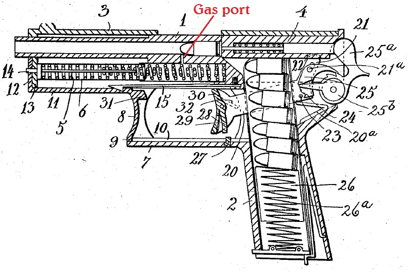 Krag experimental pistol patent drawing