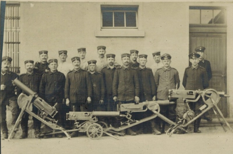 German troops posing with a variety of MG08 mounts