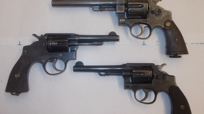 Top to bottom: .455 Hand Ejector, Trocaola, WW2 M&P