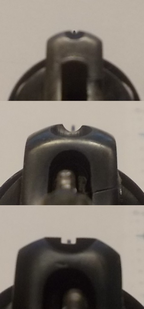 Sight pictures. Top to bottom: Hand Ejector; Trocaola, M&P