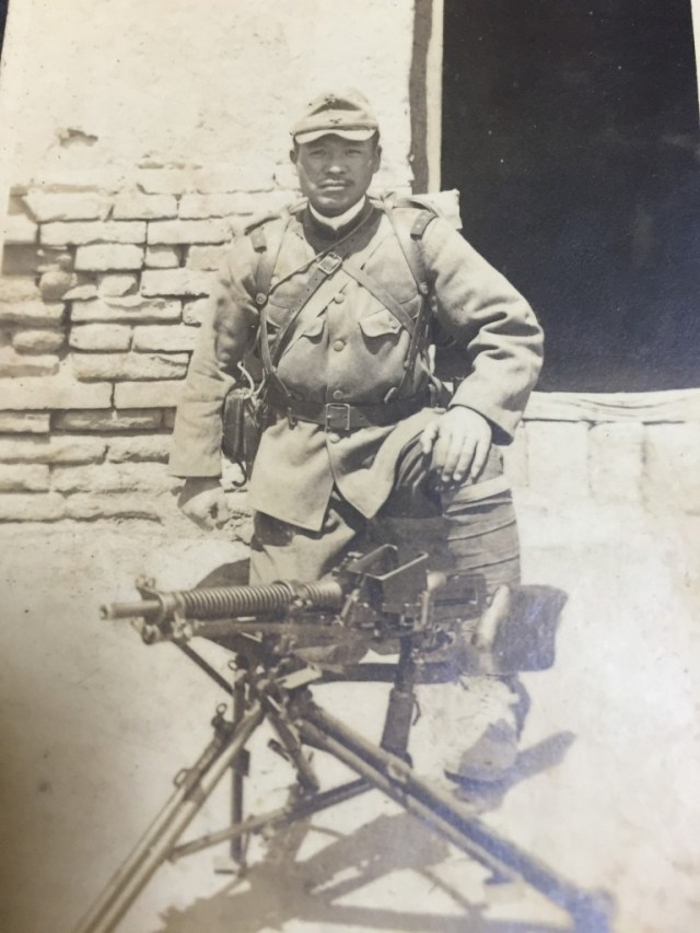 IJA soldier in Chine with a Nambu Type 11 LMG and its tripod