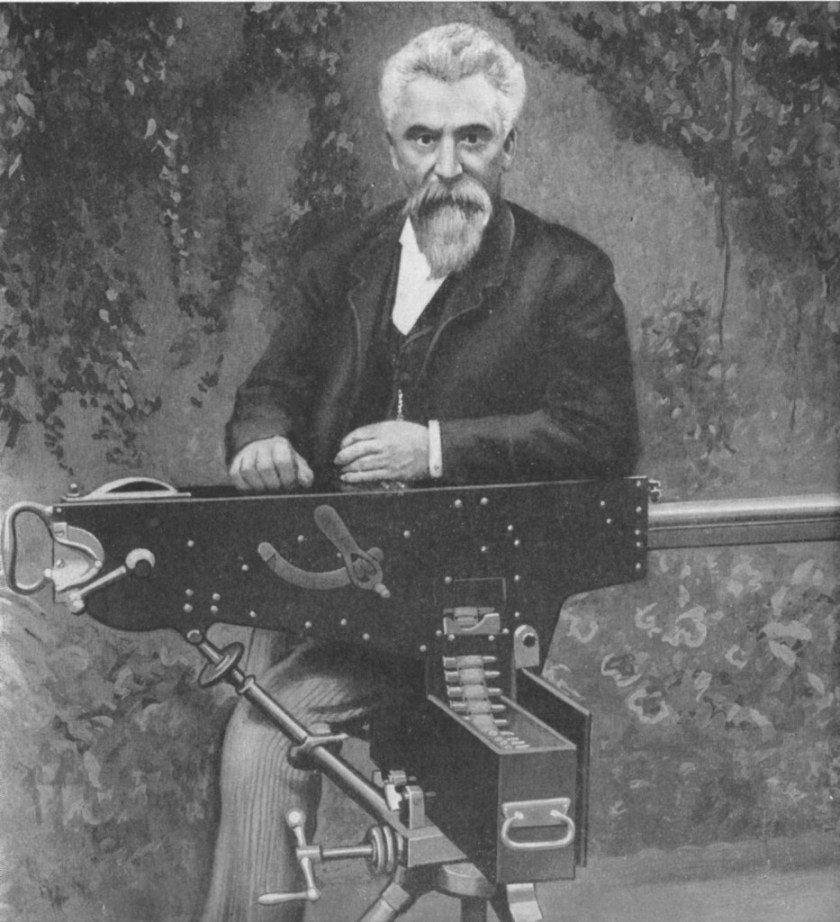 Hiram Maxim with his initial 1884 prototype machine gun