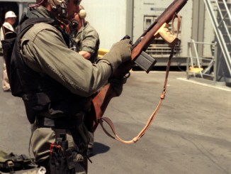 SEAL Team 8 member with his M14 during Desert Storm