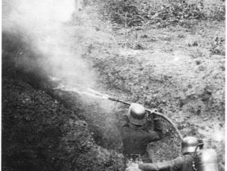 German troops demonstrating use of a WWI flamethrower