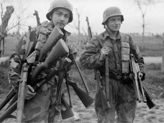 German soldiers with captured American arms