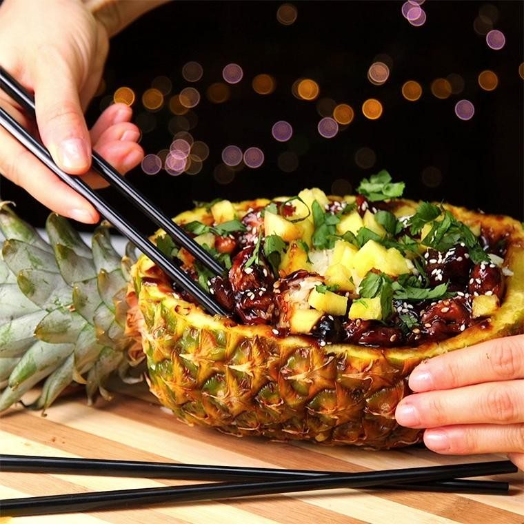 Teriyaki Chicken Pineapple Bowls Are The Perfect Tropical