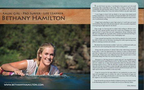 Bethany Hamilton is in the book. Photo courtesy of Felicia Alongi Cowden