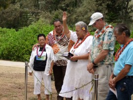 Dignitaries at the cutting of the ti-leaf lei