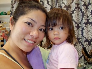 Gina Fern, designer, with her daughter Sachie