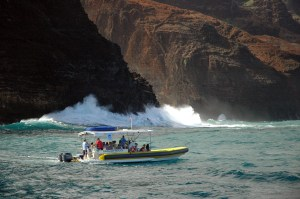 Ocean Adventurer, Holo Holo Charters' newest addition, cruising along the Napali Coast.