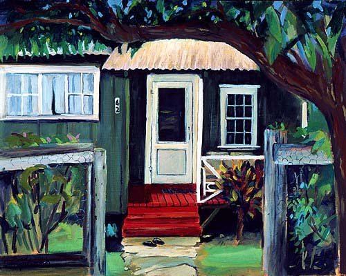 """""""Red Porch"""" plein aire painting by Fred Tangalin"""